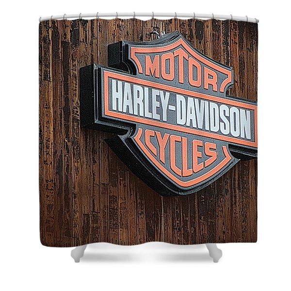 Harley Davidson Sign In West Jordan Utah Photograph Shower Curtain