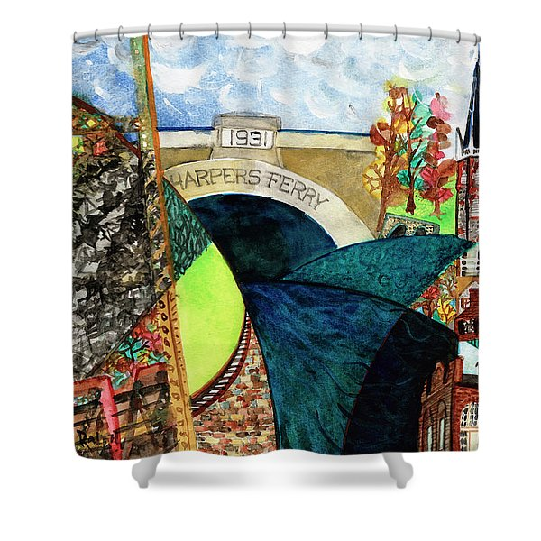 Harpers Ferry Rivers, Railroads, Revolvers Shower Curtain