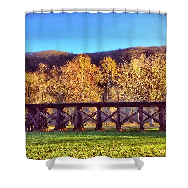 Harpers Ferry Train Tracks Shower Curtain