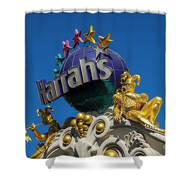 Harrah's Casino Sign On The Las Vegas Strip Shower Curtain
