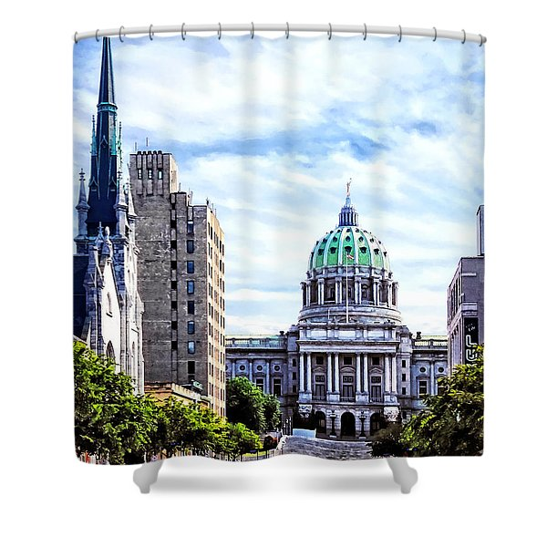 Harrisburg Pa - Capitol Building Seen From State Street Shower Curtain