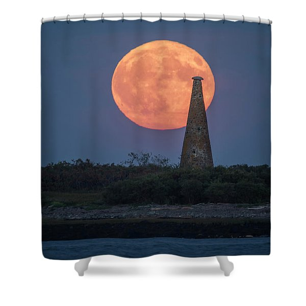 Harvest Moon Over Stage Island, Maine Shower Curtain