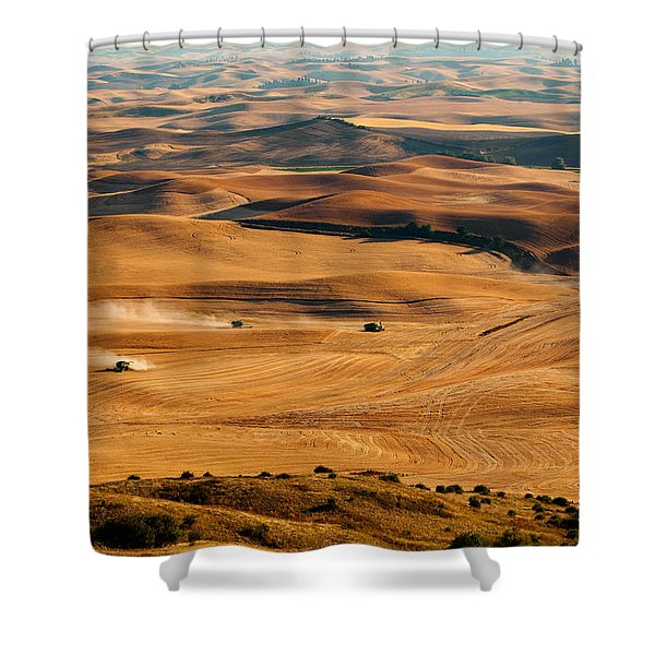 Shower Curtain featuring the photograph Harvest Overview by Mary Jo Allen