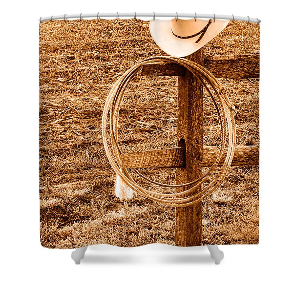 Hat And Lariat On A Post - Sepia Shower Curtain