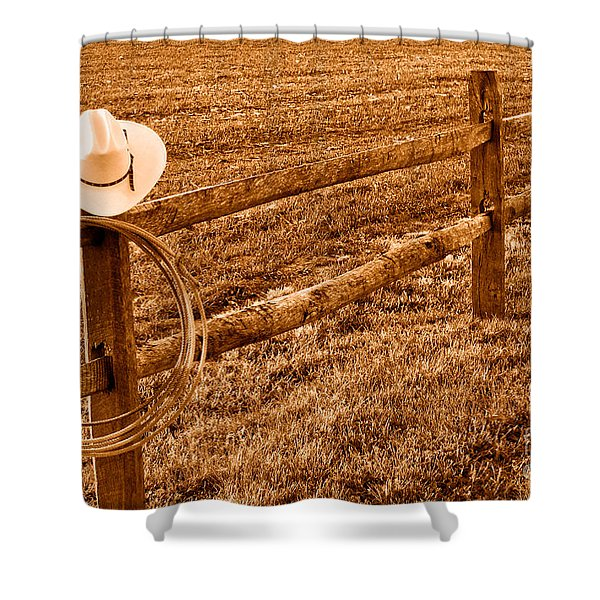 Hat And Lasso On Fence - Sepia Shower Curtain