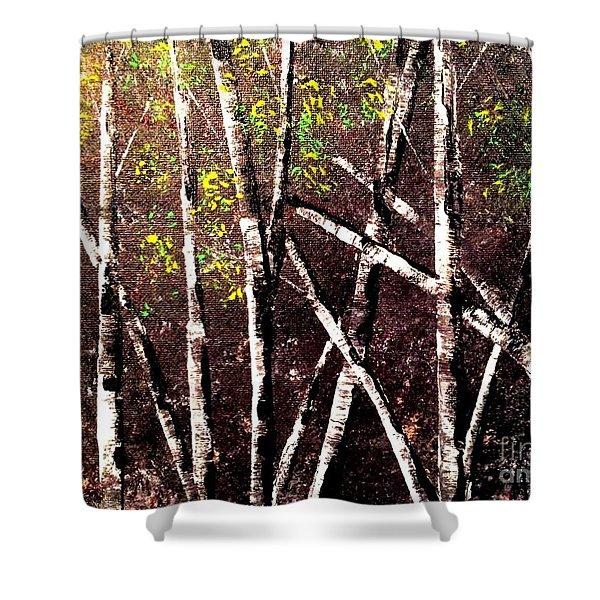 Haunted Birches Shower Curtain