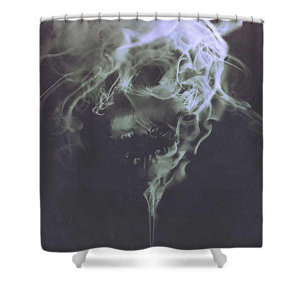 Shower Curtain featuring the painting Haunted Smoke  by Tithi Luadthong