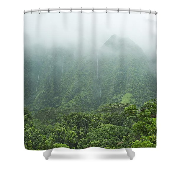 Hawaii Mountain Waterfalls Shower Curtain