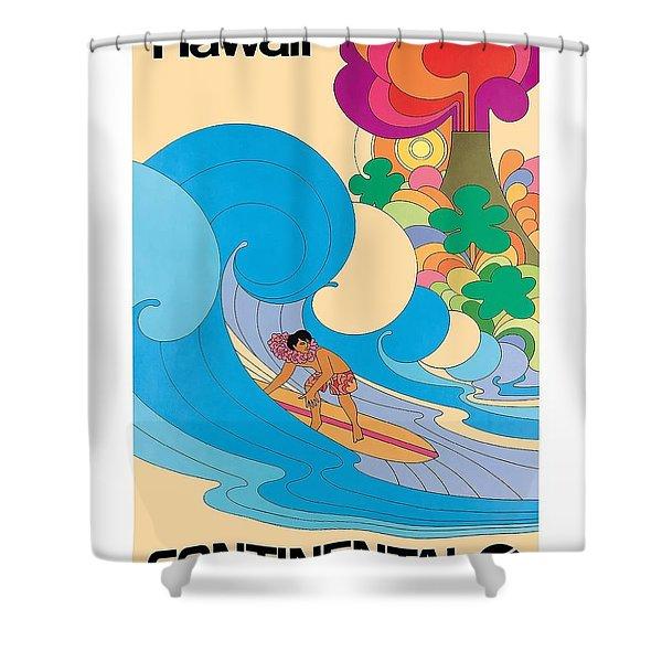 Hawaii Surfer Vintage Hawaiian Travel Poster  Shower Curtain