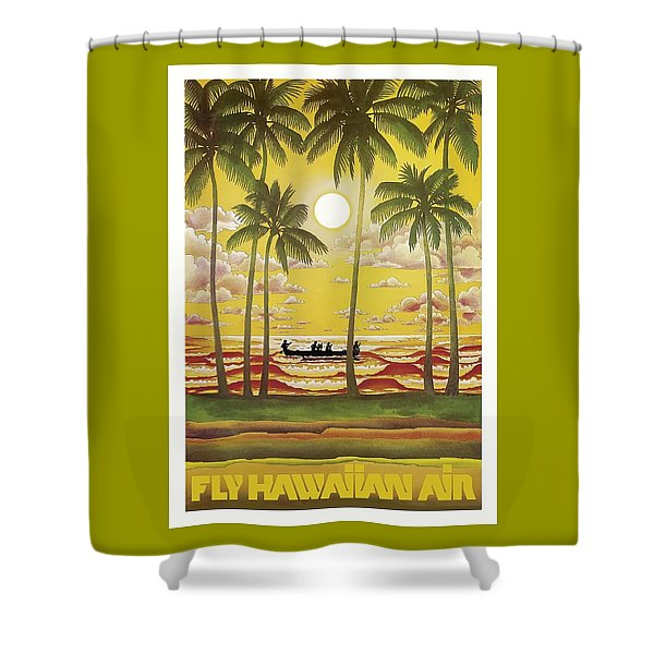 Hawaii Vintage Airline Travel Poster  Shower Curtain