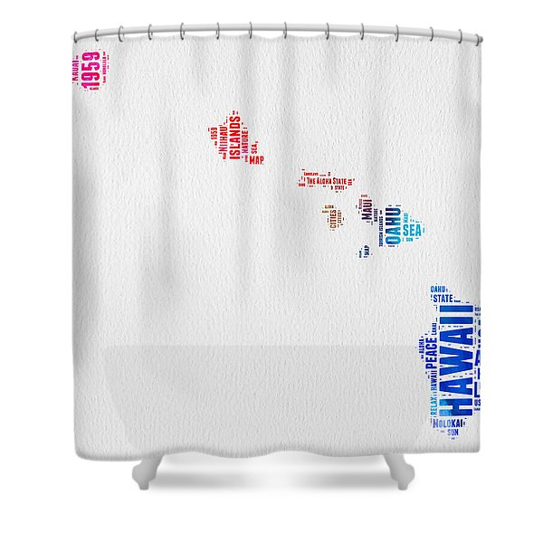 Hawaii Watercolor Word Cloud  Shower Curtain