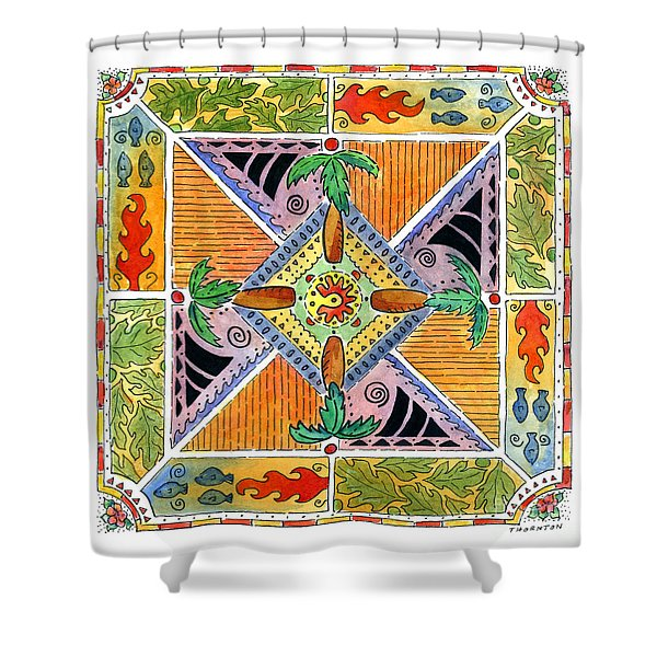 Hawaiian Mandala I - Palm Trees Shower Curtain