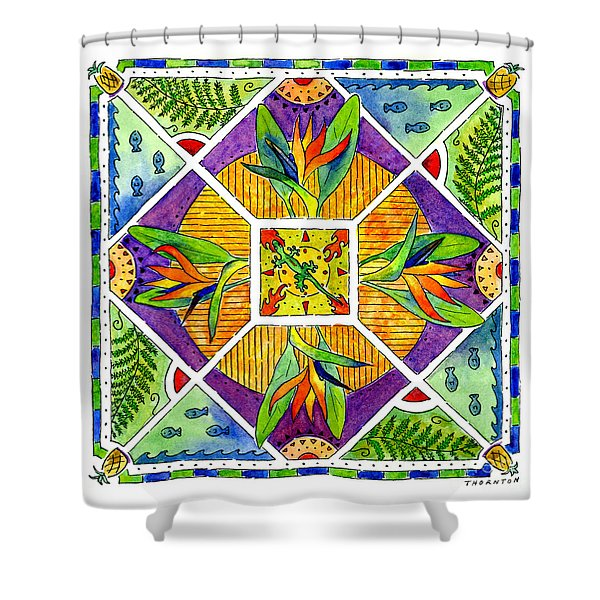 Hawaiian Mandala II - Bird Of Paradise Shower Curtain