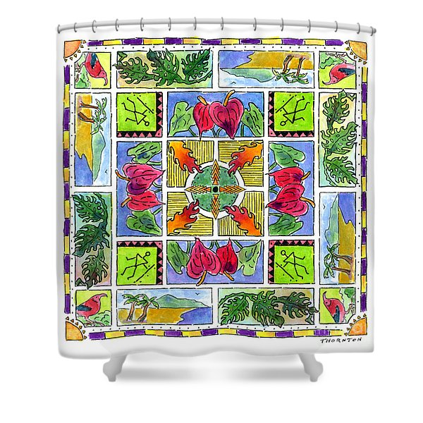 Hawaiian Mandala Iv - Anthuriums Shower Curtain