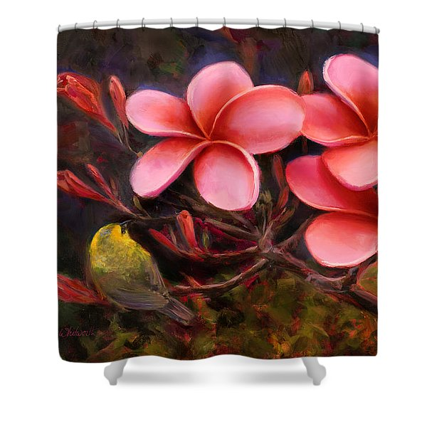Hawaiian Pink Plumeria And Amakihi Bird Shower Curtain