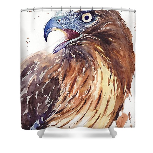 Hawk Watercolor Shower Curtain