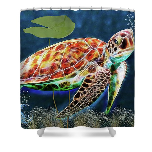 Hawksbill Sea Turtle Shower Curtain