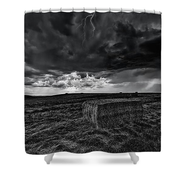 Hay Storm Black And White Shower Curtain