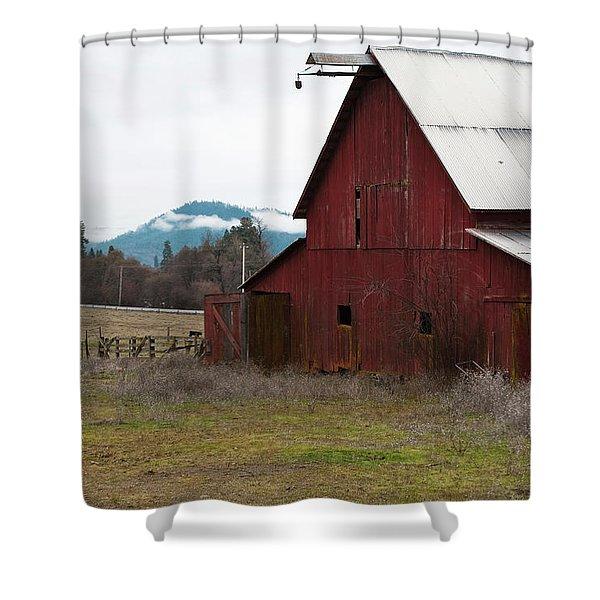 Hayfork Red Barn Shower Curtain