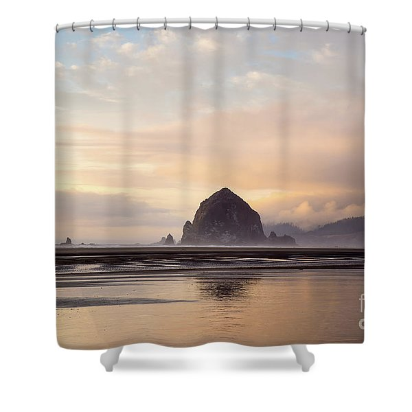 Haystack Rock After The Rain Shower Curtain