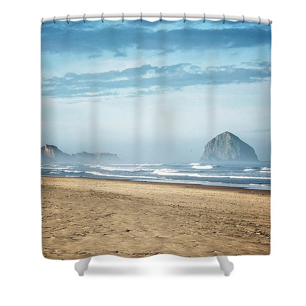 Shower Curtain featuring the photograph Haystack Rock Pacific City by Tom Singleton