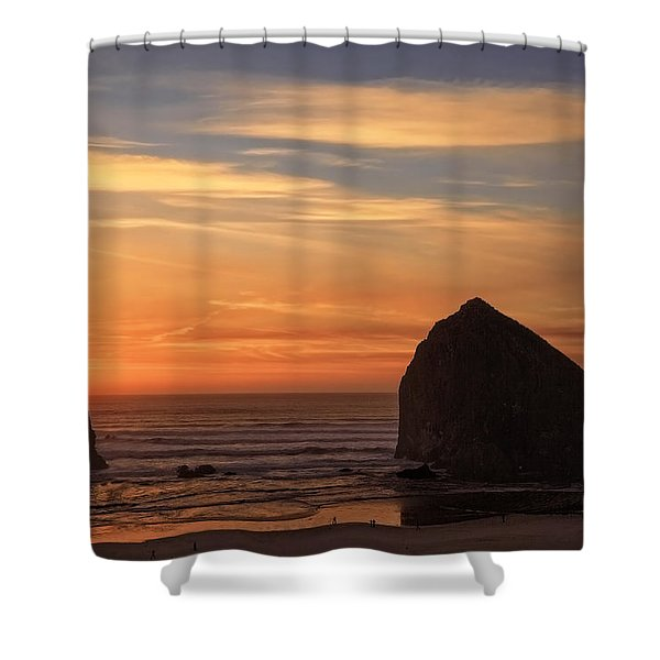 Haystack Rock Ocean Sunset, Cannon Beach, Oregon Shower Curtain