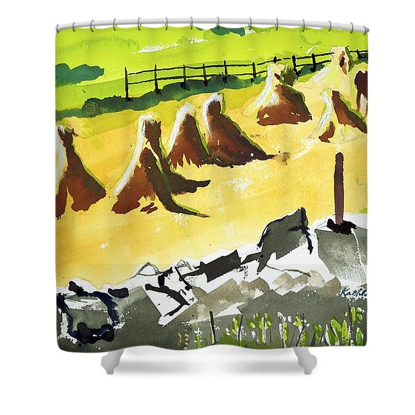Haystacks And Wall Shower Curtain