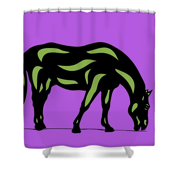 Hazel - Pop Art Horse - Black, Greenery, Purple Shower Curtain