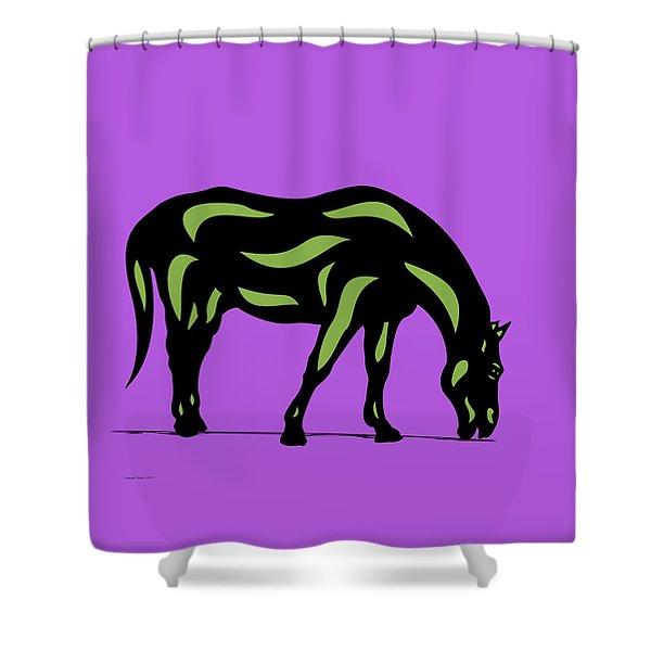 Hazel - Pop Art Horse - Black, Greenery, Purple Shower Curtain