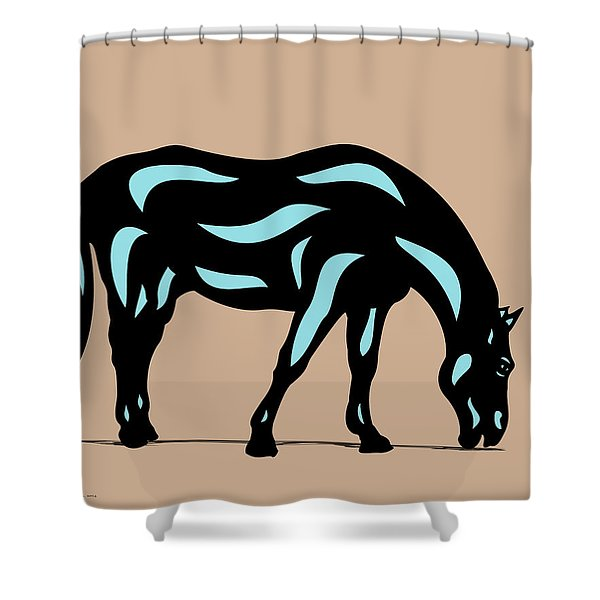 Hazel - Pop Art Horse - Black, Island Paradise Blue, Hazelnut Shower Curtain