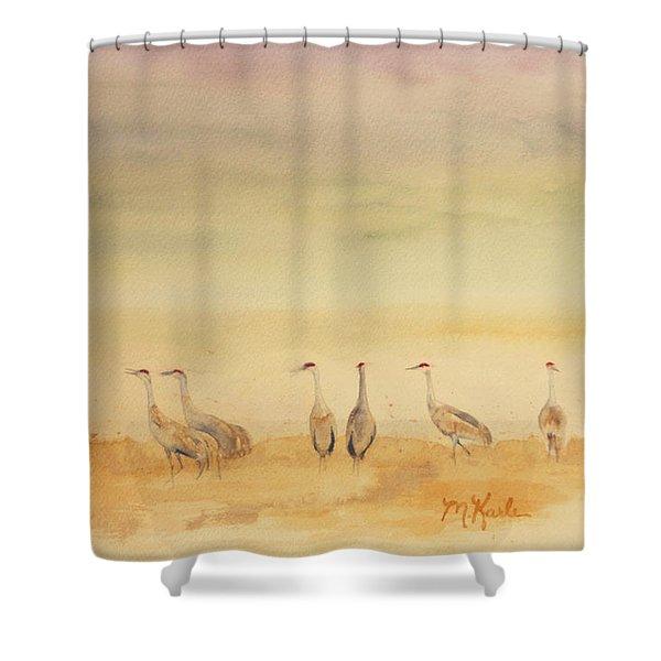 Hazy Days Cranes Shower Curtain