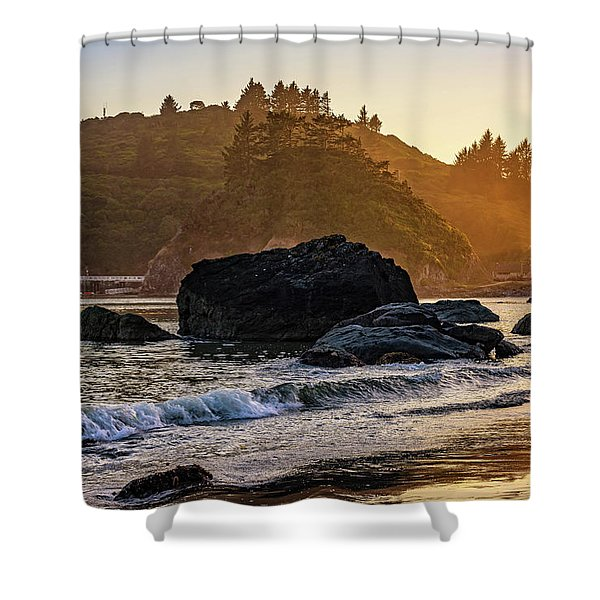 Hazy Golden Hour At Trinidad Harbor Shower Curtain