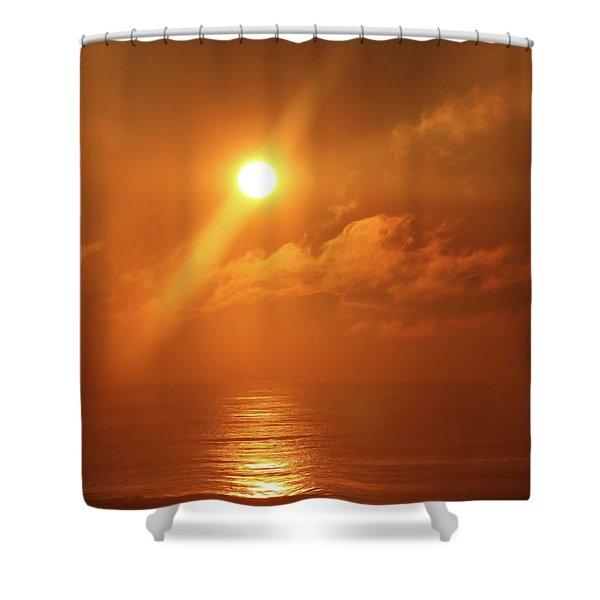 Hazy Orange Sunrise On The Jersey Shore Shower Curtain