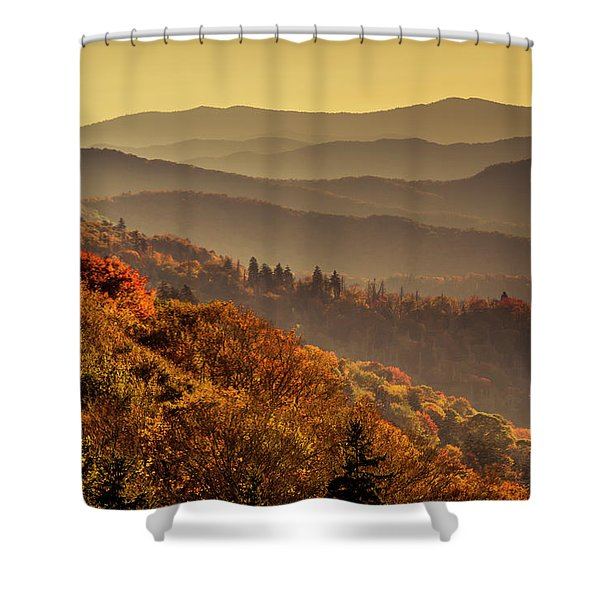Hazy Sunny Layers In The Smoky Mountains Shower Curtain