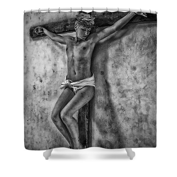 Hdr Crucifix In Black And White Shower Curtain