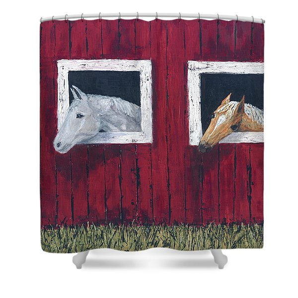 Shower Curtain featuring the painting He And She by Kathryn Riley Parker