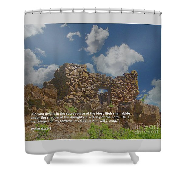 Shower Curtain featuring the digital art He Is My Refuge And My Fortress by Charles Robinson
