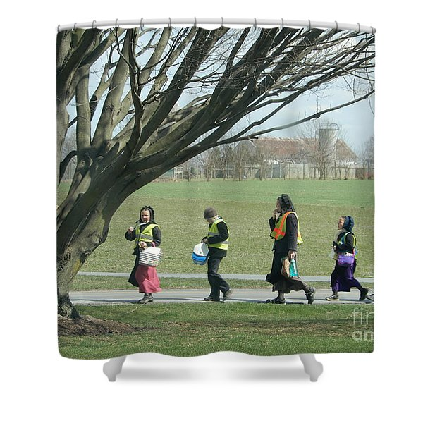 Heading Home From School Shower Curtain