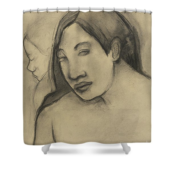 Heads Of Tahitian Women, Frontal And Profile Views Shower Curtain