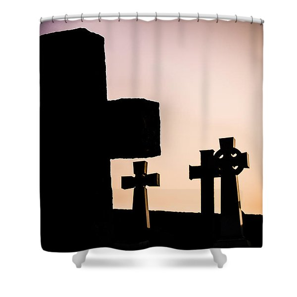 Headstones At Night, Peak District, England, Uk Shower Curtain