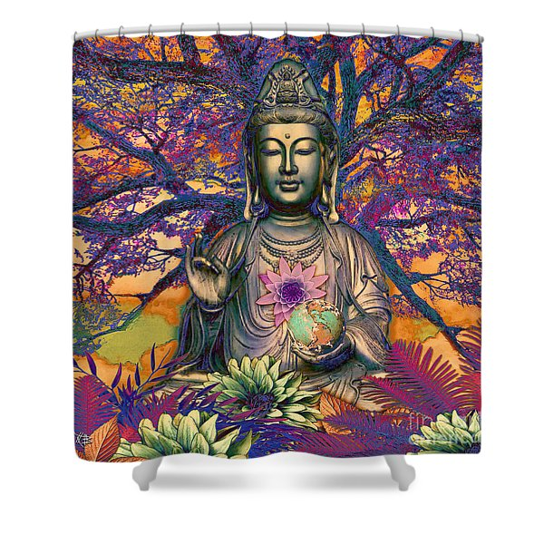 Shower Curtain featuring the mixed media Healing Nature by Christopher Beikmann