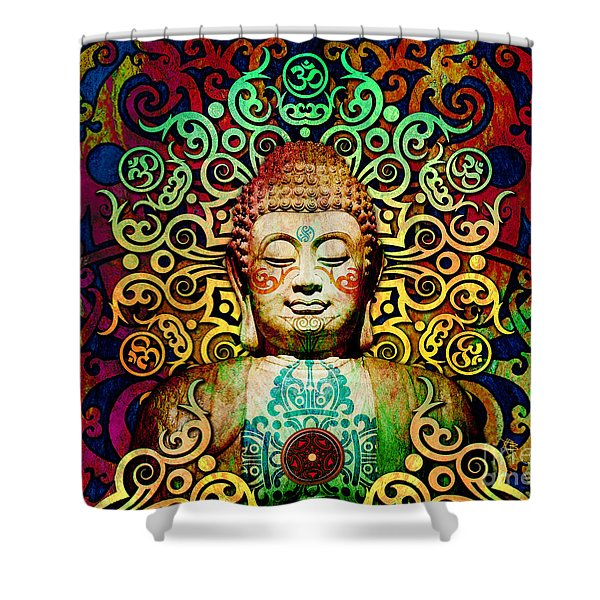 Shower Curtain featuring the digital art Heart Of Transcendence - Colorful Tribal Buddha by Christopher Beikmann