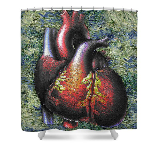 Heart, Oil Painting Shower Curtain