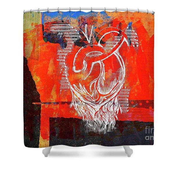 Heart On Texture Wall Shower Curtain