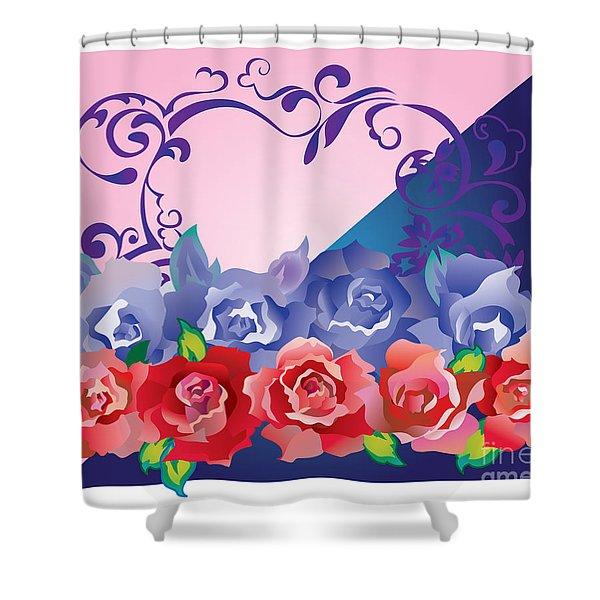 Heart Post Card Shower Curtain
