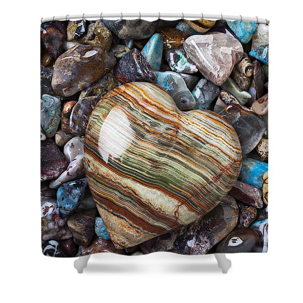 Heart Stone Shower Curtain