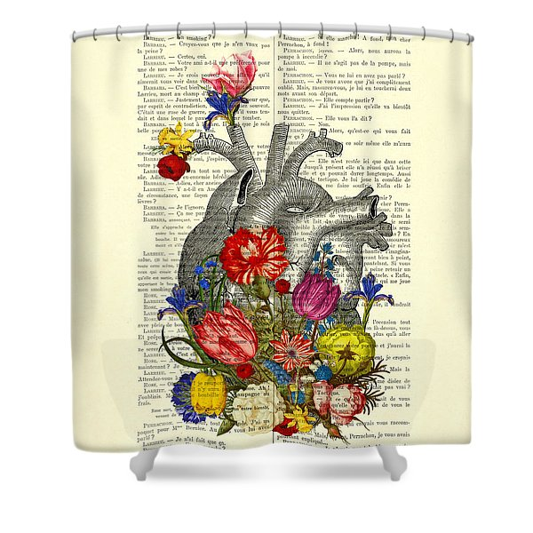 Heart With Colorful Flowers Shower Curtain