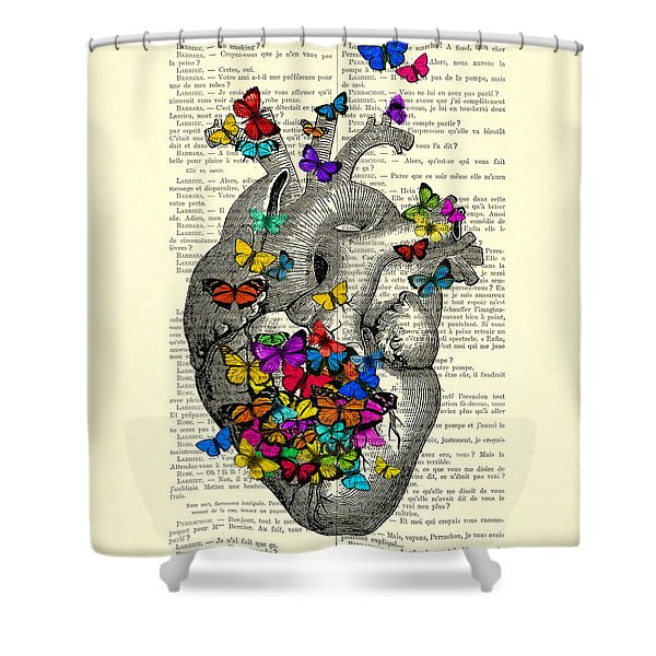 Heart With Rainbow Butterflies Shower Curtain