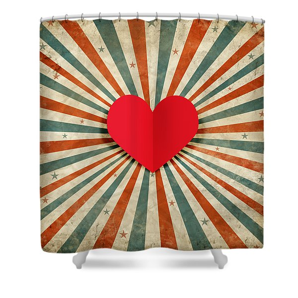 Heart With Ray Background Shower Curtain
