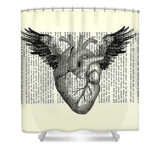 Heart With Wings In Black And White Shower Curtain